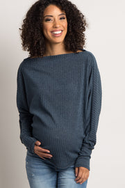 Charcoal Ribbed Boatneck Maternity Sweater