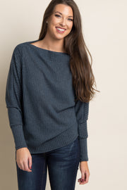 Charcoal Ribbed Boatneck Sweater