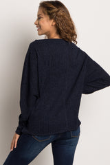 Navy Blue Ribbed Boatneck Sweater