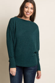 Forest Green Ribbed Boatneck Sweater