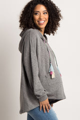 Heather Grey Hooded Tassel Drawstring Maternity Sweater
