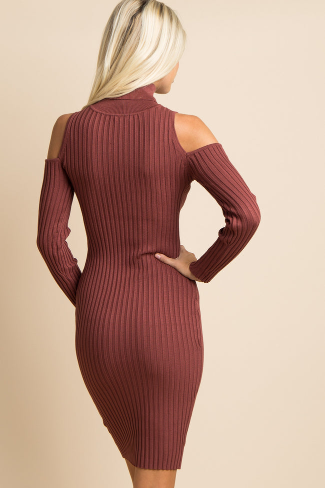 Rust Cowl Neck Cold Shoulder Ribbed Fitted Midi Dress