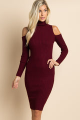 Burgundy Cold Shoulder Ribbed Fitted Maternity Dress