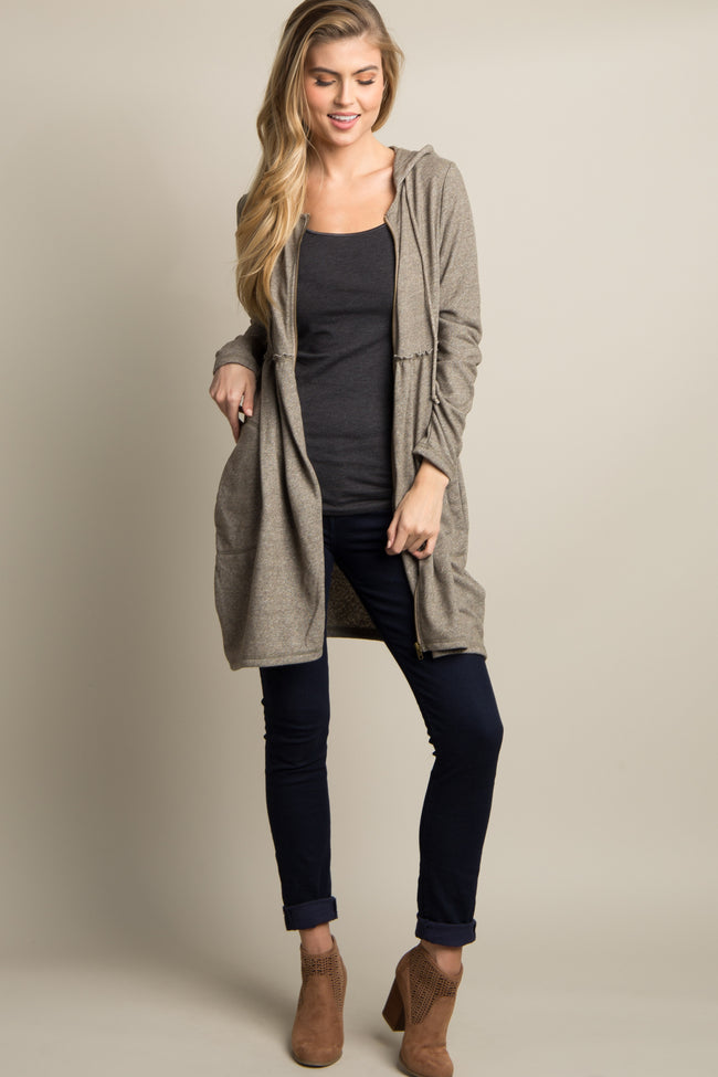 Taupe Hooded Peplum Maternity Sweater