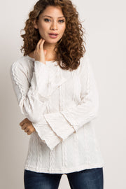 Ivory Layered Ruffle Sleeve Knit Sweater