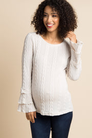 Ivory Layered Ruffle Sleeve Knit Maternity Sweater