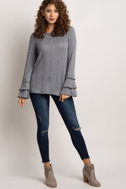 Grey Layered Ruffle Sleeve Knit Sweater