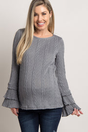 Grey Layered Ruffle Sleeve Knit Maternity Sweater