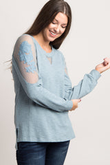 Blue Embroidered Mesh Long Sleeve Top
