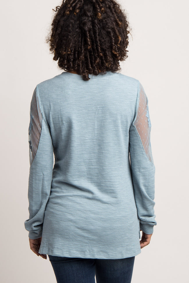 Blue Embroidered Mesh Long Sleeve Maternity Top