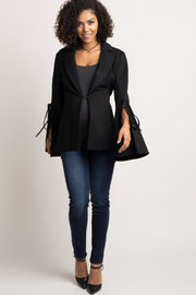 Black Solid Bell Sleeve Maternity Blazer