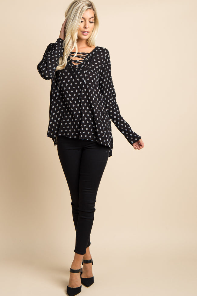 Black Diamond Print Lace-Up Front Top