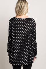Black Diamond Print Lace-Up Front Maternity Top