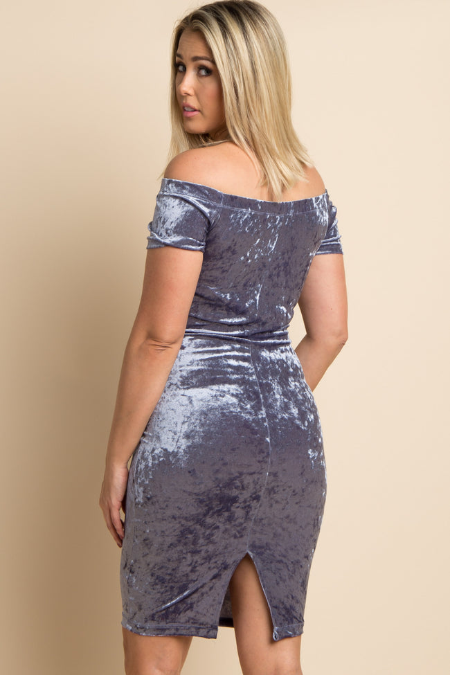 Blue Crushed Velvet Off Shoulder Maternity Fitted Dress