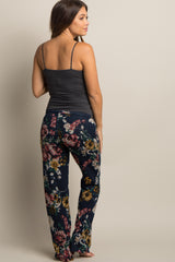 Navy Floral Drawstring Knit Maternity Pajama Pants