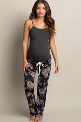 Navy Floral Heathered Maternity Pajama Pants