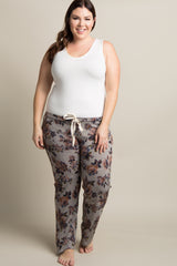 Grey Floral Heathered Knit Plus Pajama Pants