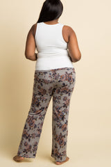 Grey Floral Heathered Knit Plus Maternity Pajama Pants