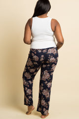 Navy Floral Heathered Knit Plus Maternity Pajama Pants