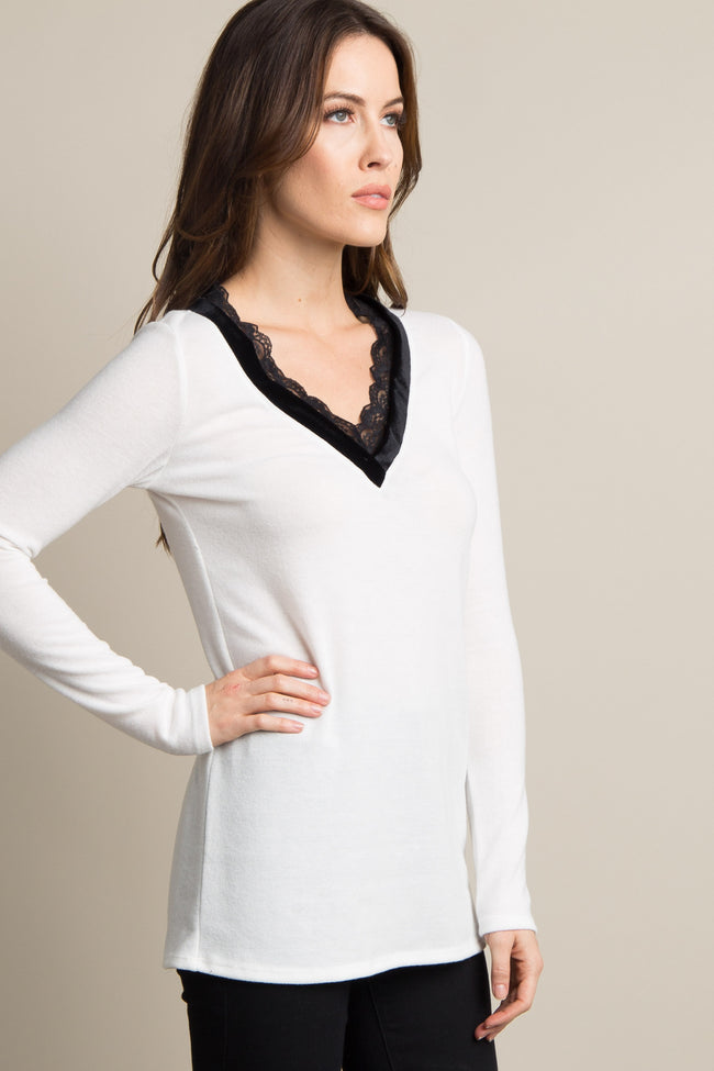 Ivory Velvet Lace Trim Sweater