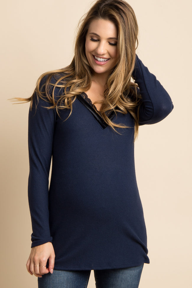 Navy Lace Trim Maternity Top