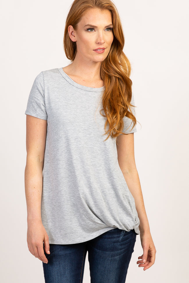 PinkBlush Grey Solid Short Sleeve Knot Hem Maternity Top
