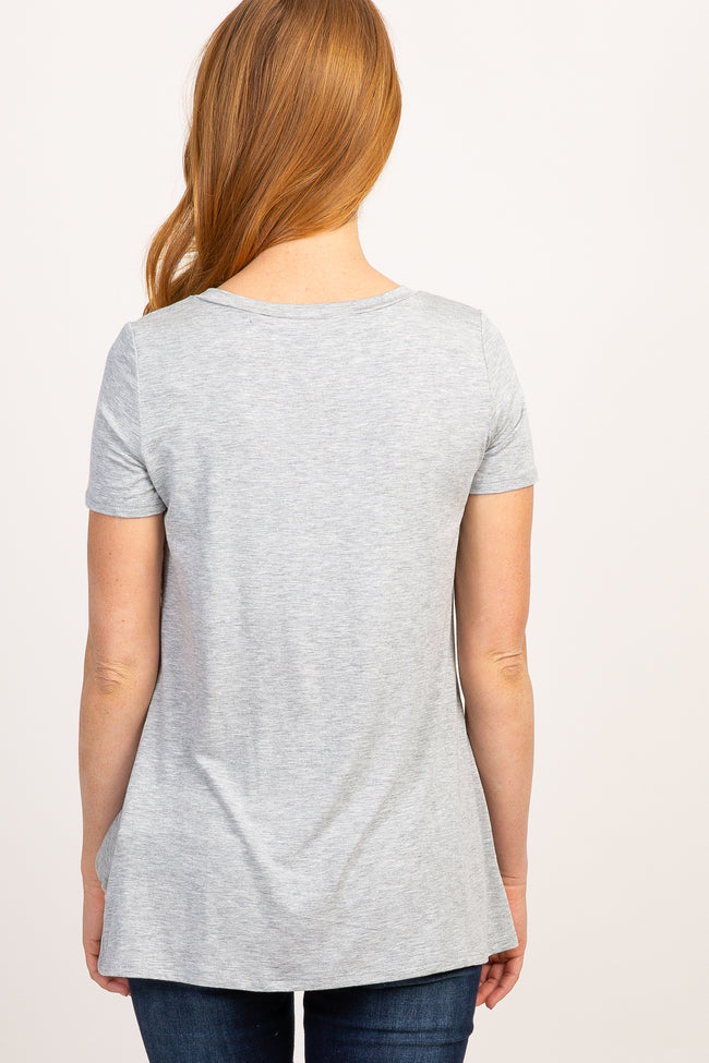 PinkBlush Grey Solid Short Sleeve Knot Hem Top