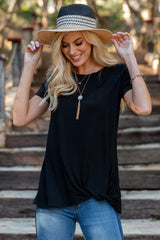 PinkBlush Black Solid Short Sleeve Knot Hem Top