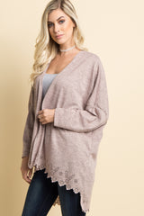 Pink Laser Cut Scalloped Hem Cardigan