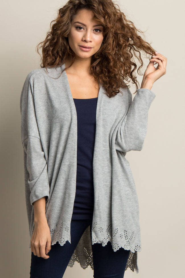 Grey Laser Cut Scalloped Hem Maternity Cardigan