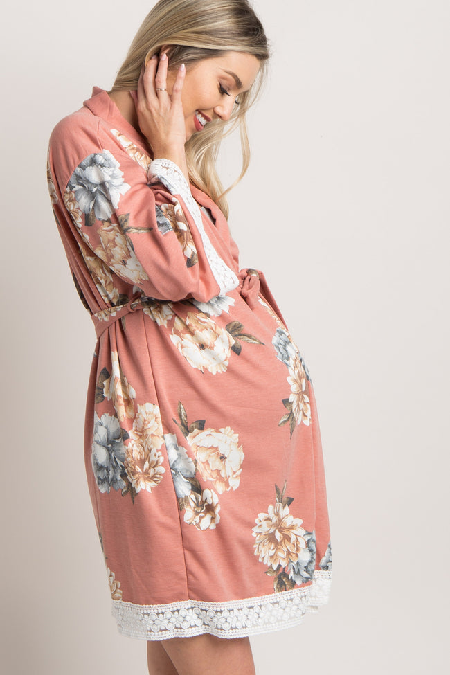 Coral Floral Lace Trim Delivery/Nursing Maternity Robe