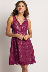 Fuchsia Lace Overlay Sleeveless Maternity Dress
