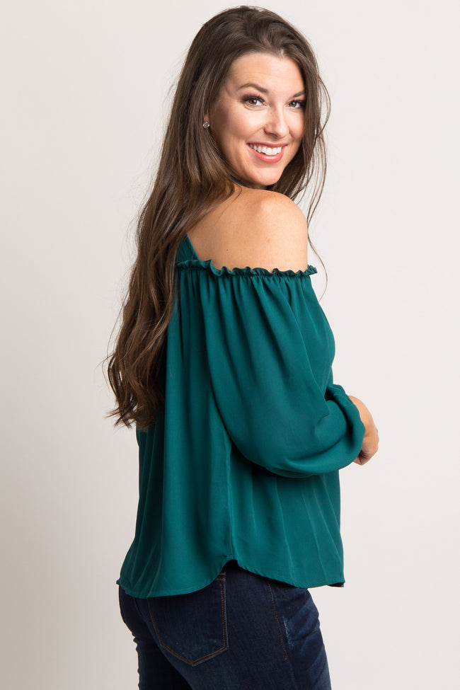 Forest Green Chiffon Cold Shoulder Blouse