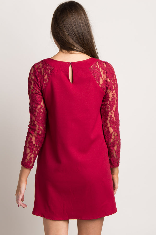 Burgundy Solid Lace Sleeve Shift Dress