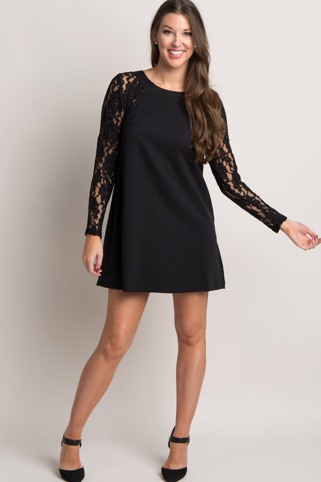 Black Solid Lace Sleeve Shift Dress