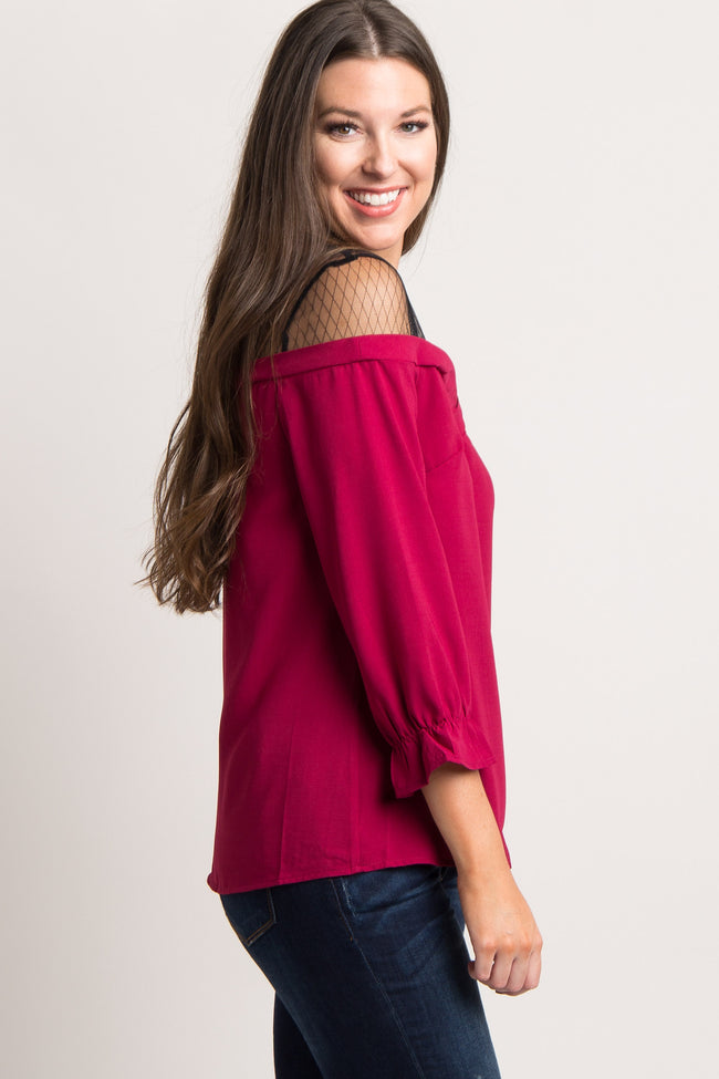Burgundy Mesh Accent Cinched Sleeve Top