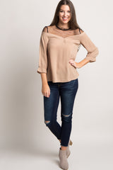 Taupe Mesh Accent Cinched Sleeve Top