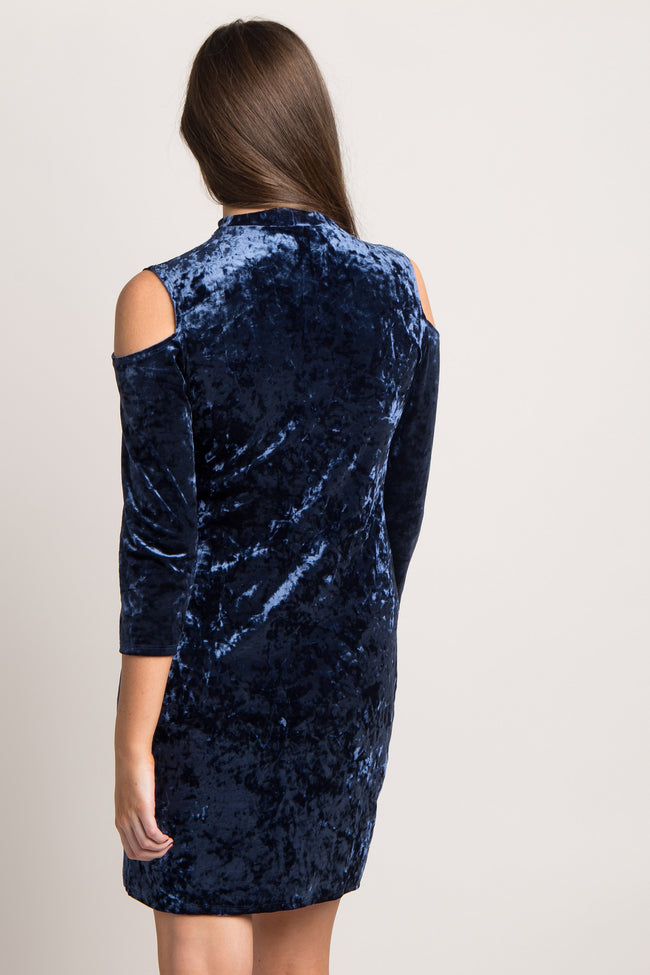 Navy Blue Crushed Velvet Cold Shoulder Dress