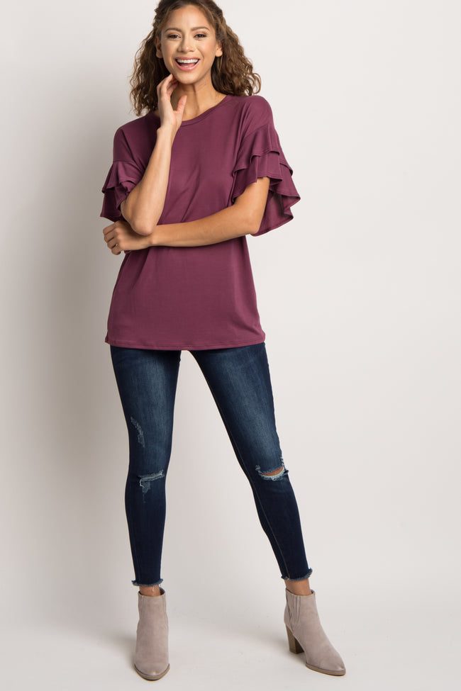 Burgundy Solid Ruffle Sleeve Top