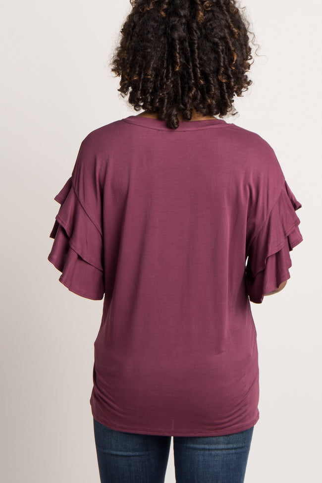 Burgundy Solid Ruffle Sleeve Maternity Top