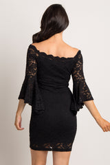 Black Lace Overlay Off Shoulder Fitted Dress