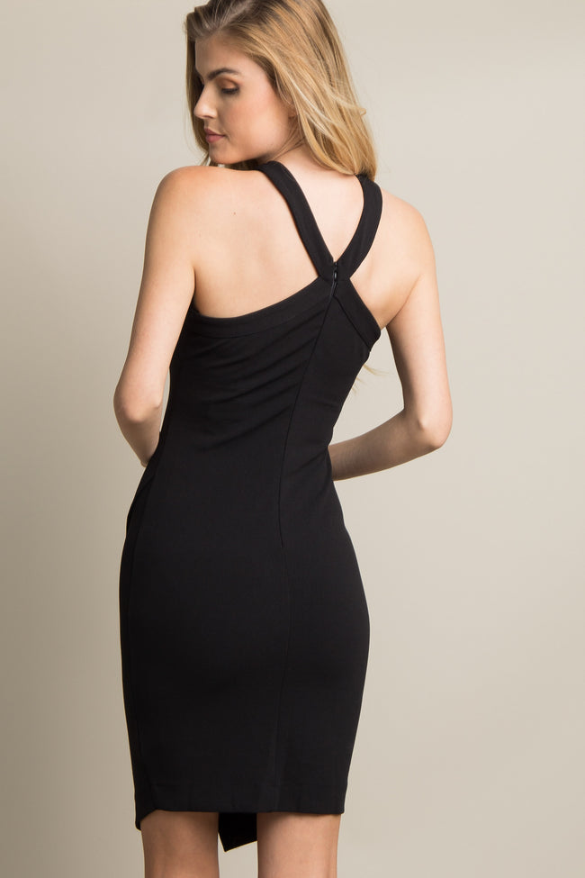 Black Solid Halter Neck Wrap Dress