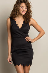 Black Solid Scalloped Trim Fitted Wrap Dress