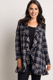 Navy Plaid Ruffle Trim Cardigan