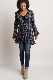 Navy Plaid Ruffle Trim Maternity Cardigan