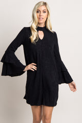 Black Ruffle Bell Sleeve Maternity Sweater Dress