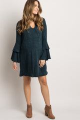 Forest Green Ruffle Bell Sleeve Maternity Sweater Dress