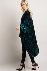 Forest Green Crushed Velvet Long Maternity Kimono