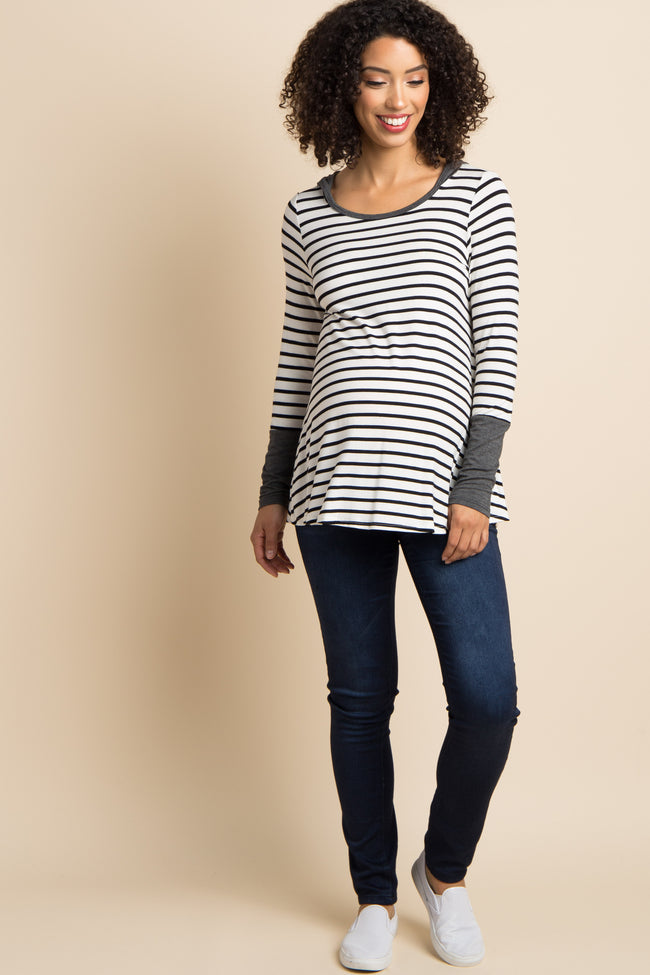 Charcoal Grey Hooded Striped Colorblock Maternity Top