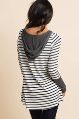 Charcoal Grey Hooded Striped Colorblock Top